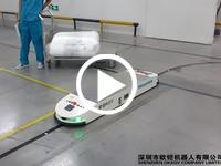 欧铠机器人超低万向潜伏横移AGV应用视频