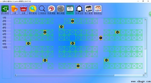 欧铠二维码智能仓储AGV监控系统