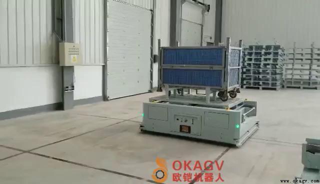 欧铠背负横移滚筒AGV现场应用视频